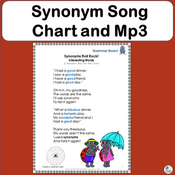 Synonym Song supports Jolly Phonics FREE