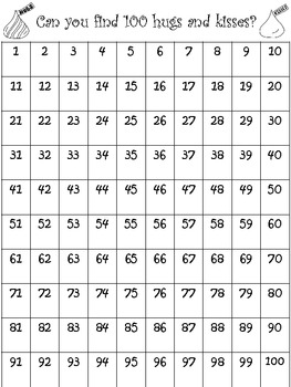 100 hugs and kisses number chart