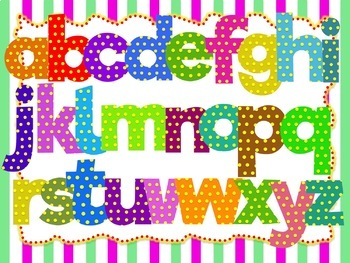 100 images of Colorful Alphabet, Numbers and Symbols (Polka Dots)
