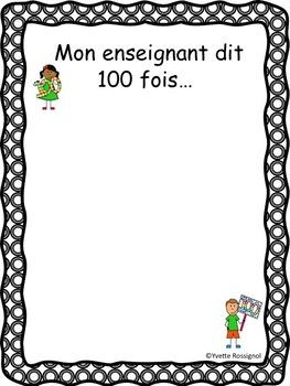 100 jours d'école (comptine et activités) French 100th day of school activities
