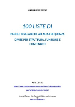 100 liste di parole bisillabiche ad af divise per struttura,funzione e contenuto