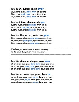 100 most frequently used French words partner drill