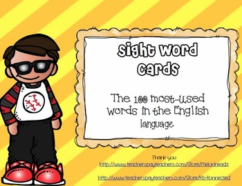 100 Most-Used Words in the English Language- Sight Word Flashcards
