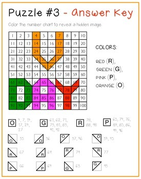 Hundreds chart place value mystery pictures  - - Valentine's Day FREEBIE - -