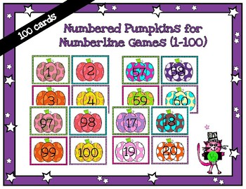 100 numbered pumpkin cards