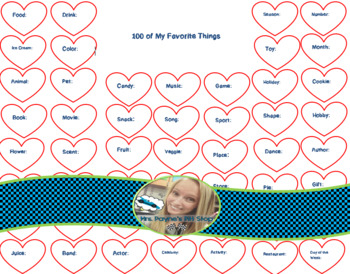 100 of My Favorite Things Printable: 100th Day of School