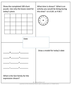 1st Grade & 2nd Grade Math Calendar - 100 chart, time, even, odd, fact families