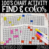 100's Chart Activities: Find & Color Numbers