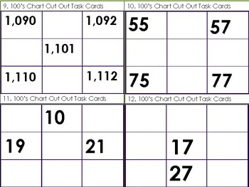 100's Chart Cut Out Task Cards (32 Task Cards)
