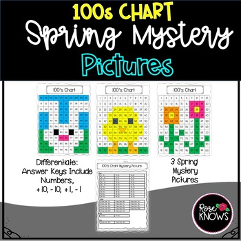 100's Chart Differentiated Spring Mystery Pictures Pack