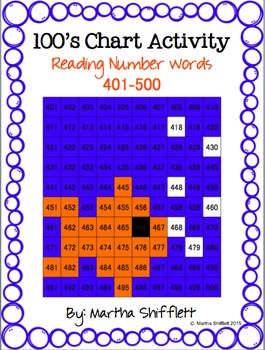 100's Chart Hidden Fish Picture Activity Reading Number Words 401-500