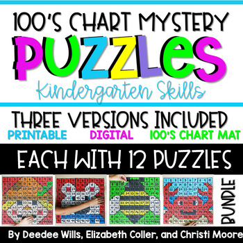 100's Chart Mystery Puzzles Year-Long Bundle