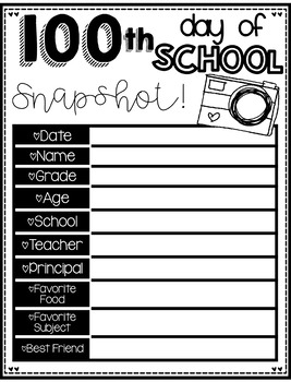 100's Day Book for the 100th Day of School