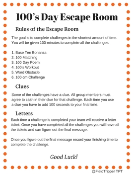 100's Day Escape Room