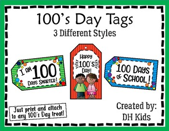100's Day - One Hundred's Day - Treat Bag Tags