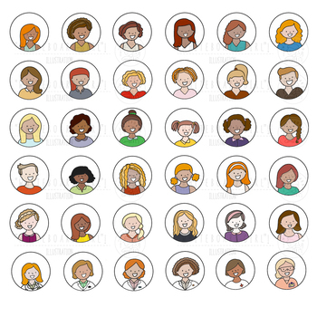 100 set of clipart icons. Topic: Diverse set of WOMAN avatars.