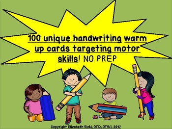 100 unique exercises for handwriting warm up cards targeting motor skills.