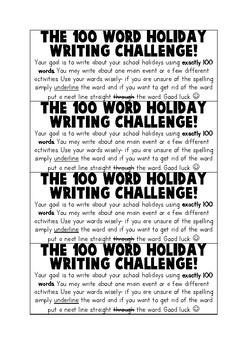 100 word holiday writing challenge