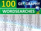 100 x Geography Wordsearch Puzzle Sheet Keywords Countries