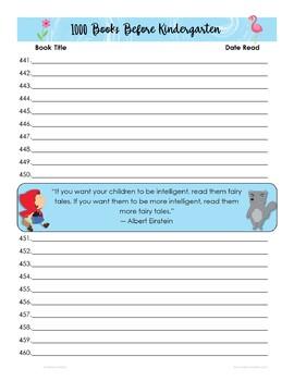 1000 Books Tracking Sheet