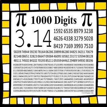 1000 Digits Of Pi Day Poster And Printout By Teacher Abby