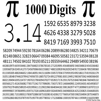 1000 Digits of Pi Day Poster and Printout