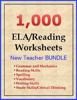 1000 ELA and Reading Worksheets BUNDLE