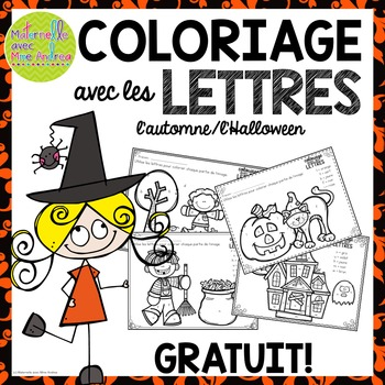 GRATUIT! Free FRENCH Fall/Halloween colour by letter sheets