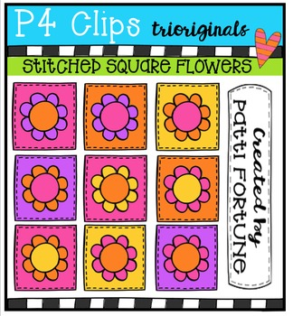 1000 Followers DAY 3 FREEBIE Stitched Squares Flowers {P4 Clips Trioriginals}