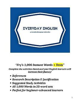1,000 Fry Instant Words + Tests for Words 1 - 100