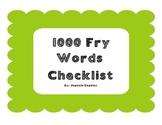 1000 Fry Words Checklist