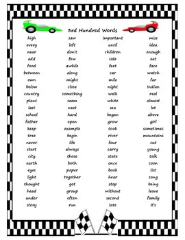 1000 Fry Words - Racing Theme