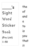 1000 Fry Words Sight Word Sticker Book Plus Logs and Parent Letter