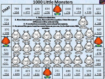 1000 Little Monsters-3rd Grade 3 Digit Adding/Subtracting with Regrouping