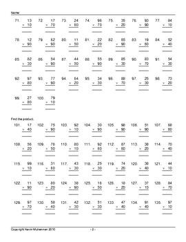 1000 Questions Advanced Multiplication Powers of Ten Math