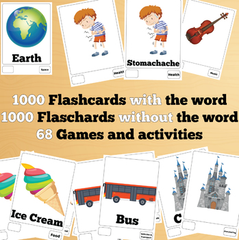1000 X 2 English Flash Cards Bundle (2000 flash cards with words and no words)