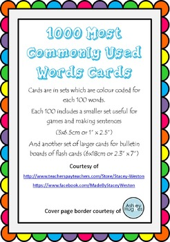 1000 most common words - flash and game cards