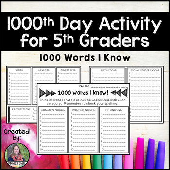 1000th Day Activity for 5th Graders: 1000 Words We Know