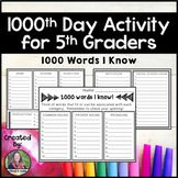 1000th Day Activity for 5th Graders: 1000 Words I Know