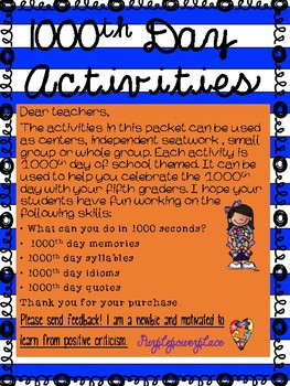 1000th Day of School Activities for 5th graders