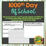 1000th Day of School - Math and Writing Activites