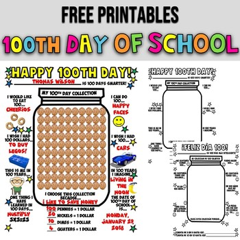 100TH DAY OF SCHOOL ACTIVITIES | POSTER | CANDY JAR
