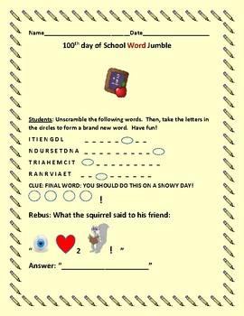 100TH DAY OF SCHOOL WORD JUMBLE: FUN!