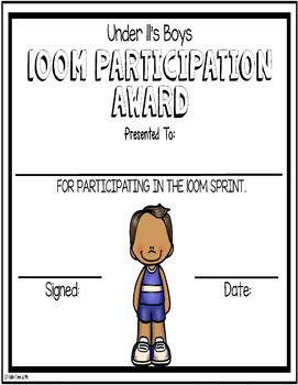 100m Track Awards Editable