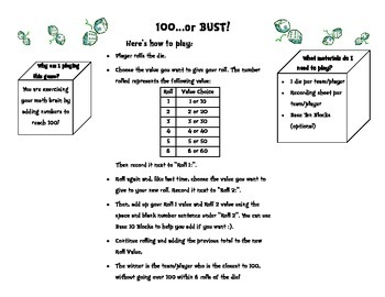 """100...or BUST!"" Addition game"