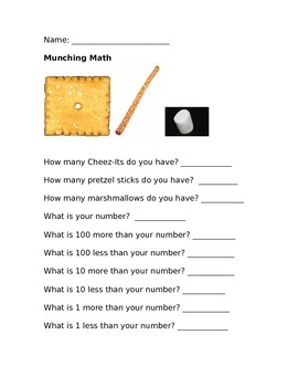 100s, 10s, 1s Math Lesson - Snack