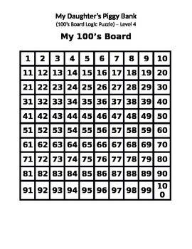 """100's Board Interactive Logic Puzzle - """"My Daughter's Piggy Bank"""" - Level 4"""
