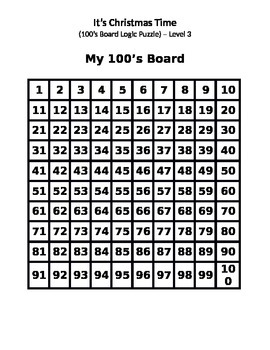 "100's Board Logic Puzzle - ""It's Christmas"" - Level 3"