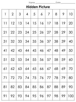 Numbers: 100s Chart Hidden Picture Activity - St. Patrick's Day Pot of Gold