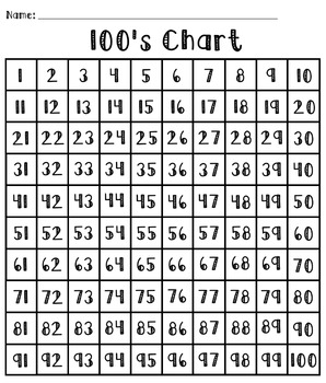 100's Chart Freebie For Students